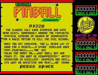 Реклама первого Dizzy в Advanced Pinball Simulator